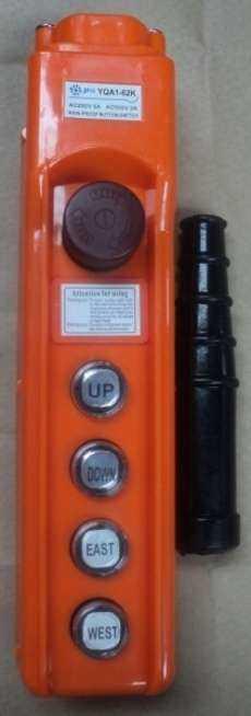 marca: JNG modelo: YQA162K, 4 botões + 1 botão de emergencia p/ ponte rolante, talha elétrica estado: nova