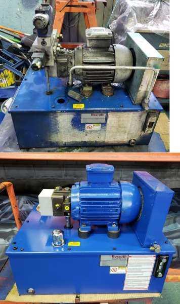 Reforma da unidade hidráulica com troca de componentes e pintura.